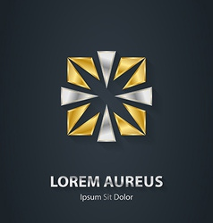 Silver and gold square logo award 3d icon metallic vector