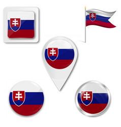 Slovakian flag in wind vector