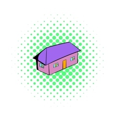 Small cottage icon comics style vector
