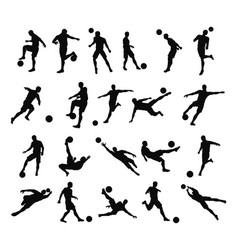 Soccer football player silhouettes vector