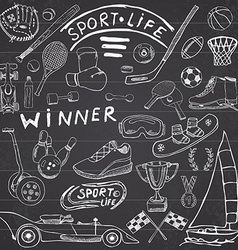 Sport life sketch doodles elements Hand drawn set vector image