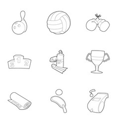 Sport things icons set outline style vector