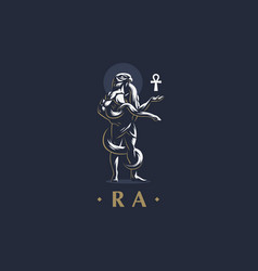 the egyptian god ra with an ankh in his hand vector image