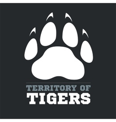 Tiger footprint on dark background - vector