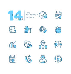 Time management - set of line design style icons vector