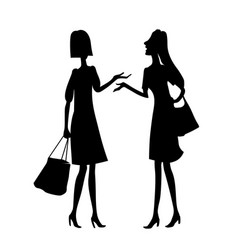two young women talking drawing silhouette vector image
