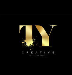 Ty t y letter logo with gold melted metal splash vector
