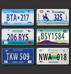 United states license plates vintage collection vector