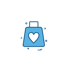 valentines shopping shopping bag heart icon design vector image