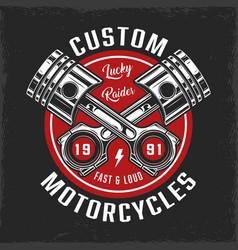 Vintage custom motorcycle round badge vector