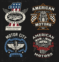 vintage motorcycle badge label logo t-shirt gra vector image