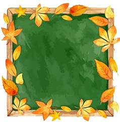 Watercolor school board and autumn leaves vector image