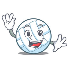 Waving volley ball character cartoon vector