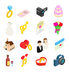 Wedding isometric 3d icons set vector image