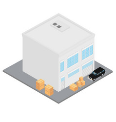 workshop car and boxes vector image