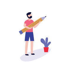 Young man holding big pencil for blogging vector