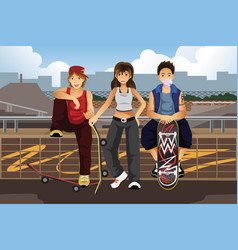 Young people hanging out outside with skateboard vector