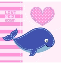 Card with cute cartoon whale in patchwork style vector image