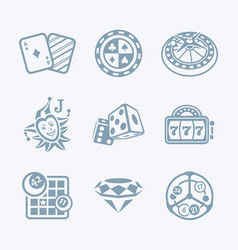 casino games icons - tech series vector image vector image