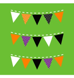 Colorful Halloween Bunting isolated on green vector image