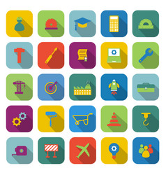 engineering color icons with long shadow vector image