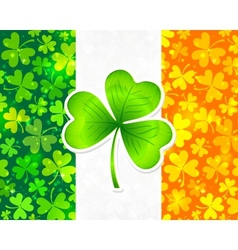 Irish flag with green and orange clovers vector image