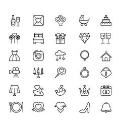 outline web icon set - wedding vector image
