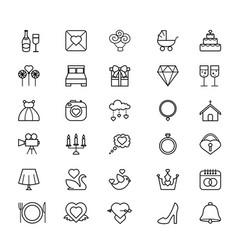 outline web icon set - wedding vector image vector image