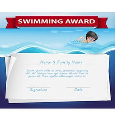 Template of certificate for swimming award vector image