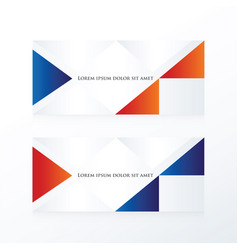 Abstract banner modern blue red vector