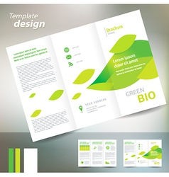 brochure folder leaflet bio eco green leaf nature vector image