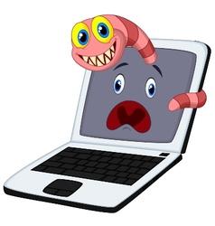Cartoon worms breaks into a computer vector