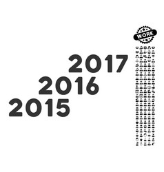 from 2016 to 2017 years icon with work bonus vector image vector image