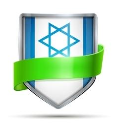 Shield with flag Israel and ribbon vector image vector image