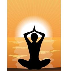 silhouette of a woman doing yoga vector image vector image