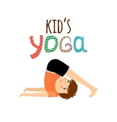 Yoga kids logo with boy vector image vector image