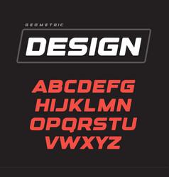 italic bold geometric alphabet design sport game vector image