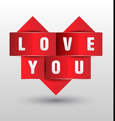 Origami paper heart shape with love you vector image