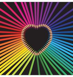pencils heart vector image vector image