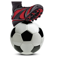 soccer ball with football player feet on it vector image vector image