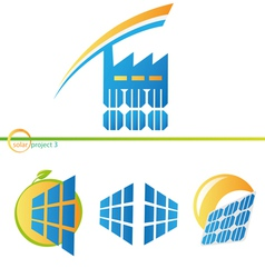 Solar factory icons vector image
