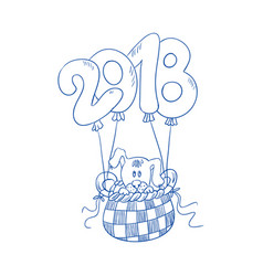 the puppy is flying in the basket of the balloon vector image