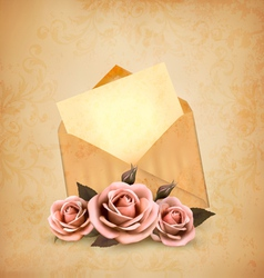 Three roses in front of an old envelope with a vector image vector image