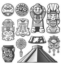 Vintage monochrome maya elements set vector