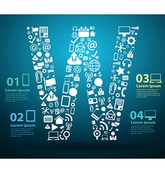 Application icons alphabet letters W design vector image vector image