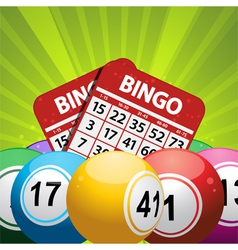 bingo balls and card background on a green vector image vector image