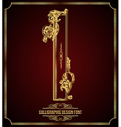 Calligraphic font Letter I vector image vector image
