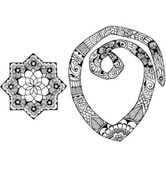 letter O decorated in the style of mehndi vector image