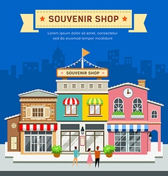 Souvenir shop on blue background vector image vector image