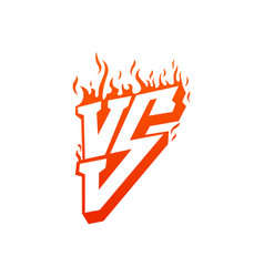 versus with fire frames and vs letters flaming vs vector image
